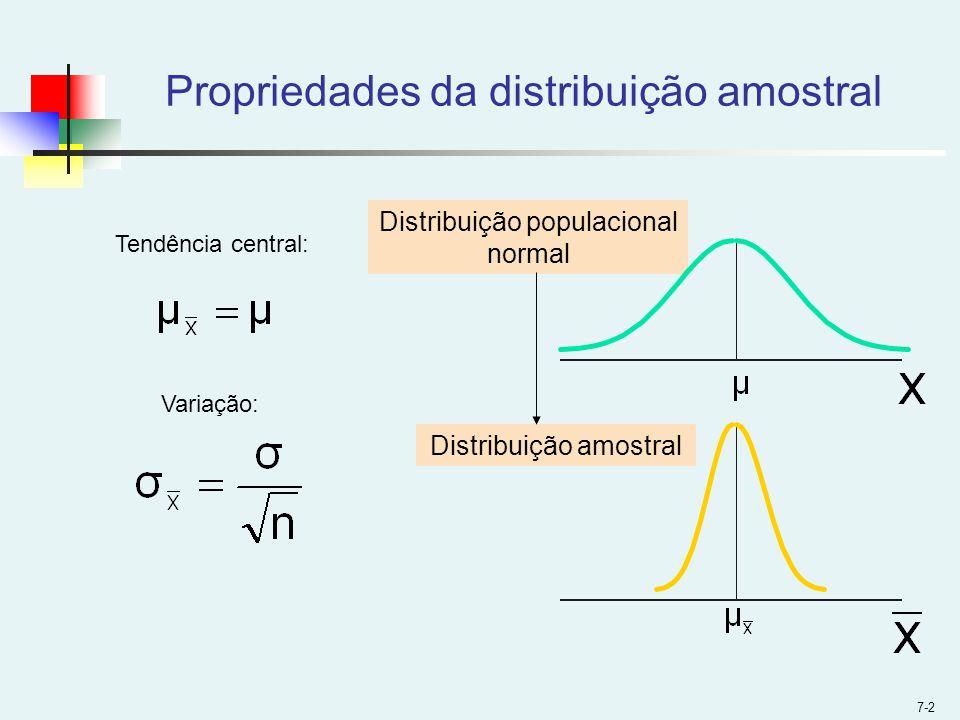 Propriedades da distribuição amostral