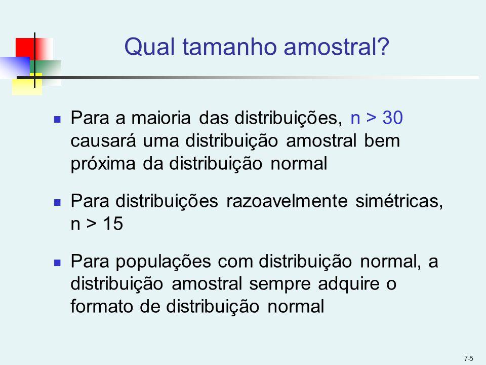 Qual tamanho amostral Para a maioria das distribuições, n > 30 causará uma distribuição amostral bem próxima da distribuição normal.