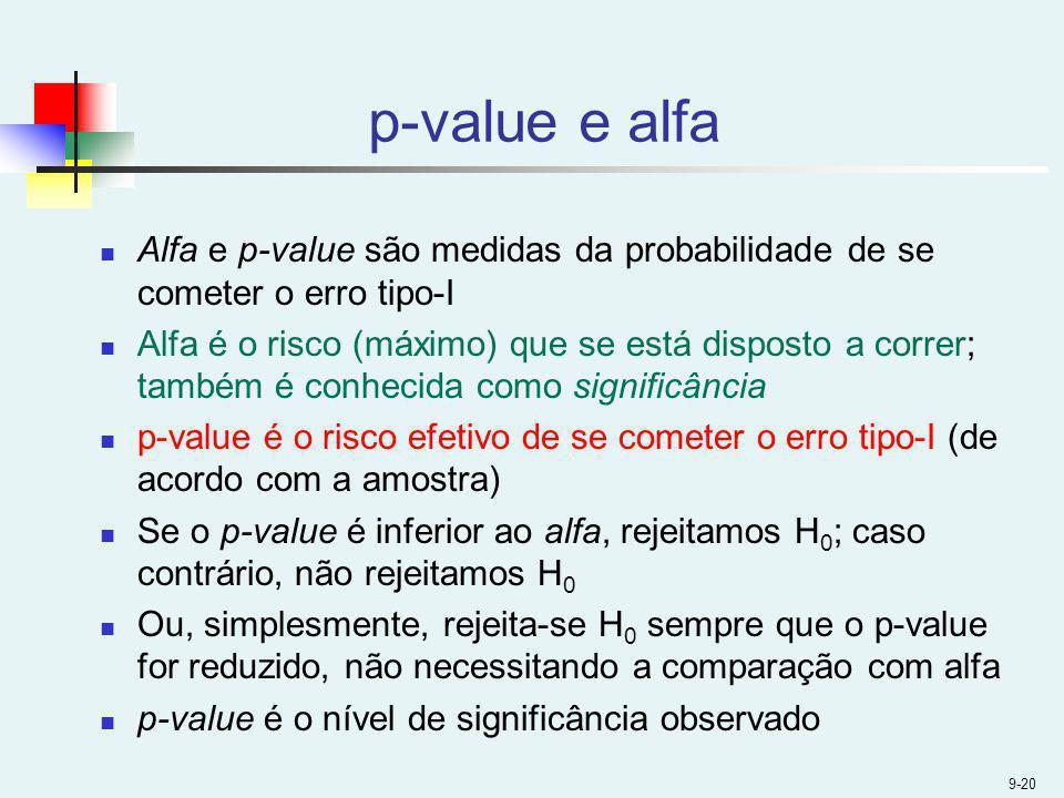 p-value e alfa Alfa e p-value são medidas da probabilidade de se cometer o erro tipo-I.