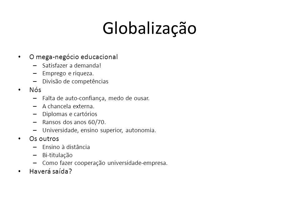 Globalização O mega-negócio educacional Nós Os outros Haverá saída