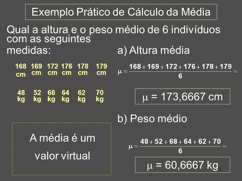 Exemplo Prático de Cálculo da Média