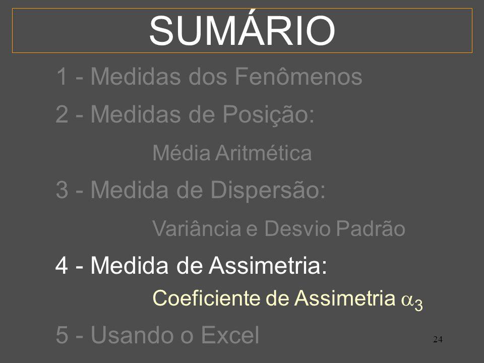 SUMÁRIO 1 - Medidas dos Fenômenos 2 - Medidas de Posição: