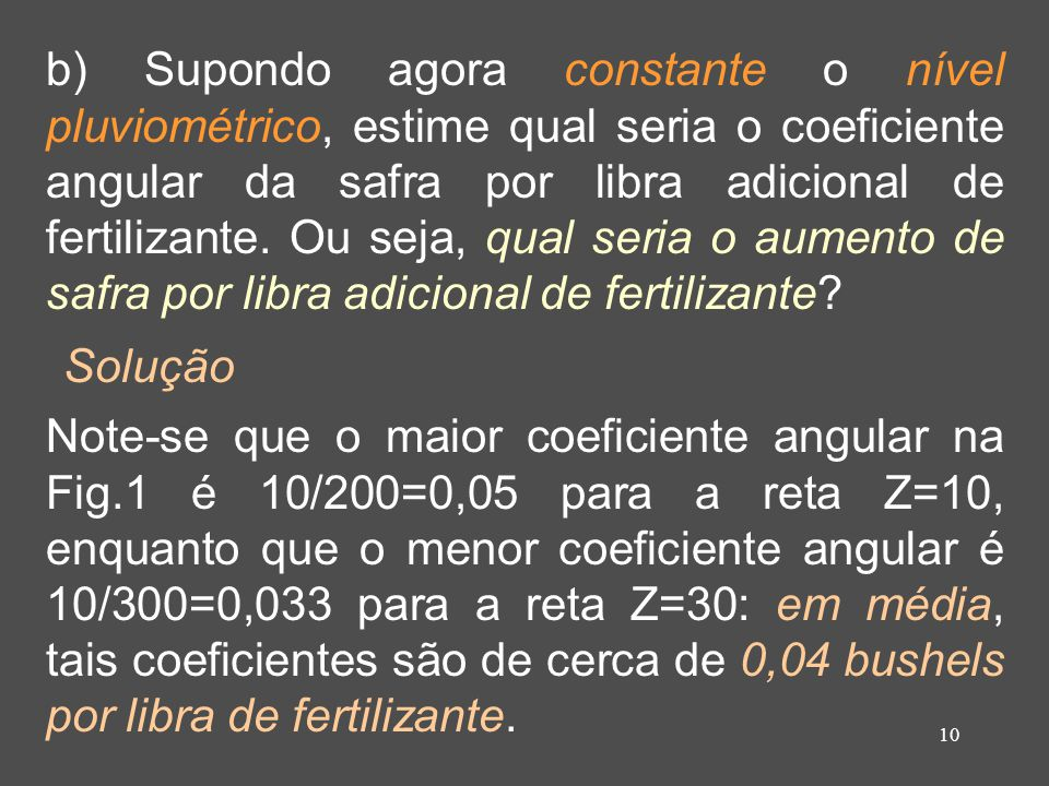 b) Supondo agora constante o nível pluviométrico, estime qual seria o coeficiente angular da safra por libra adicional de fertilizante. Ou seja, qual seria o aumento de safra por libra adicional de fertilizante