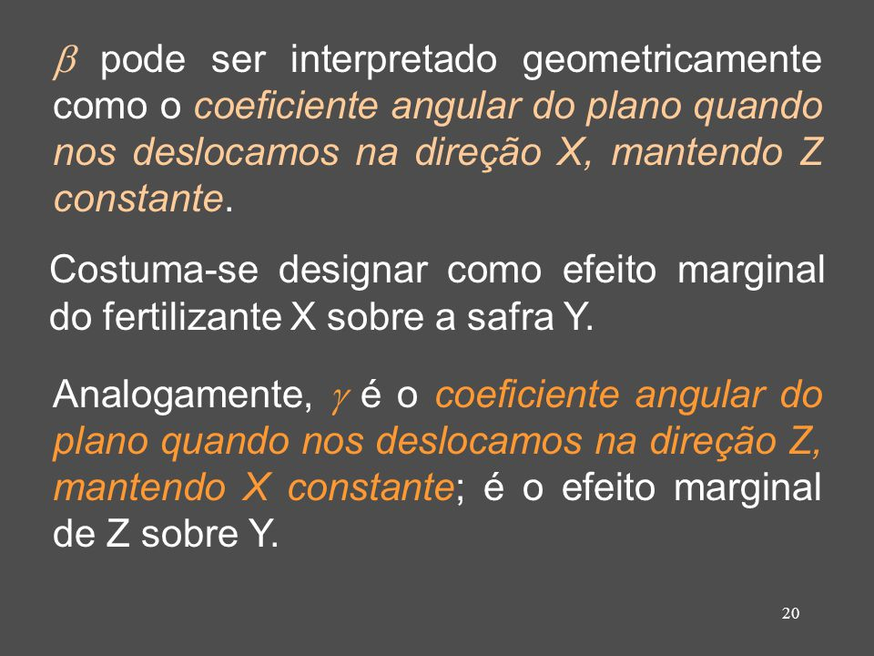  pode ser interpretado geometricamente como o coeficiente angular do plano quando nos deslocamos na direção X, mantendo Z constante.