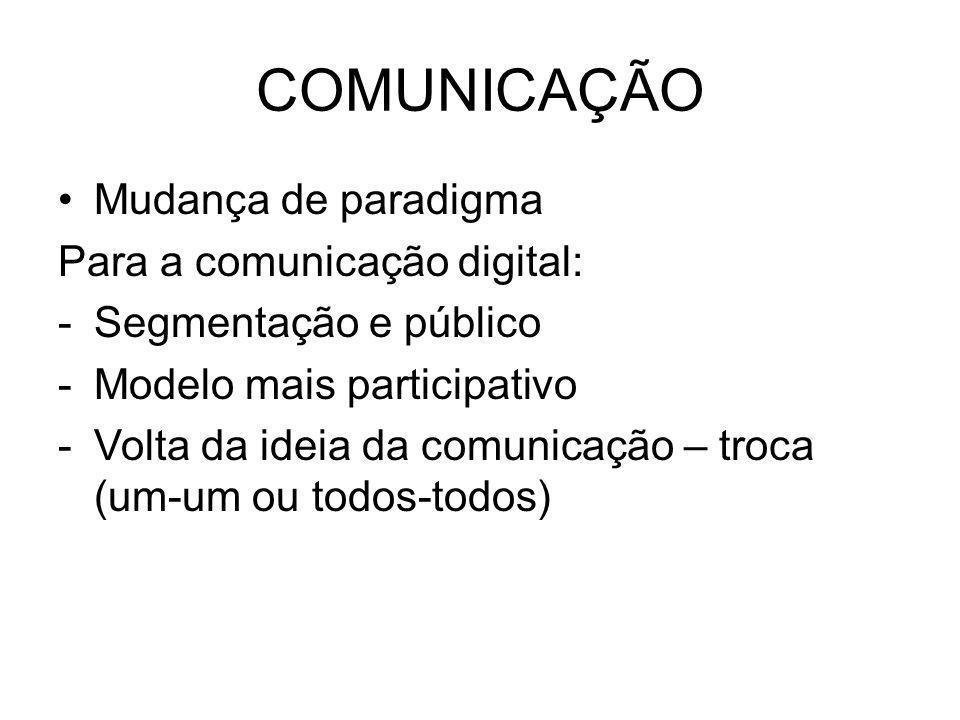 COMUNICAÇÃO Mudança de paradigma Para a comunicação digital: