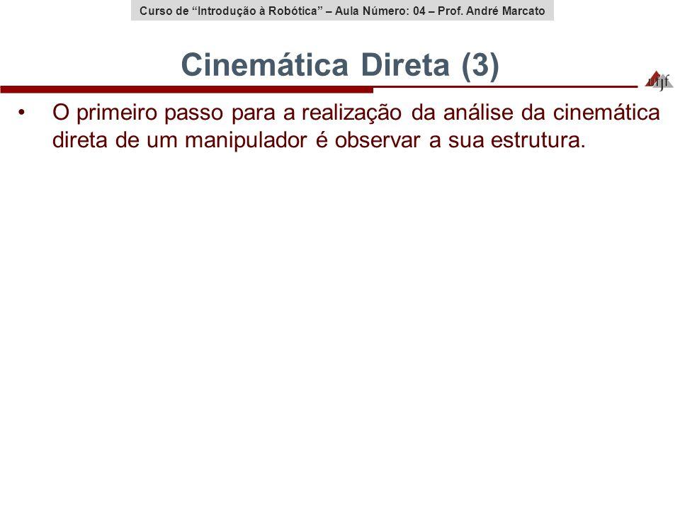 Cinemática Direta (3) O primeiro passo para a realização da análise da cinemática direta de um manipulador é observar a sua estrutura.