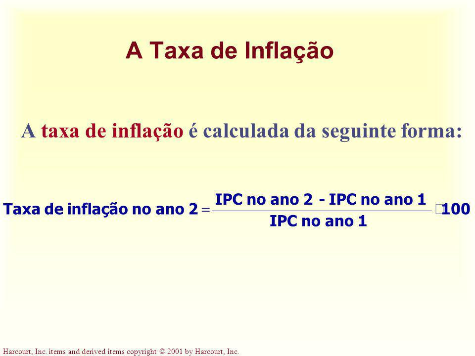 A Taxa de Inflação A taxa de inflação é calculada da seguinte forma: