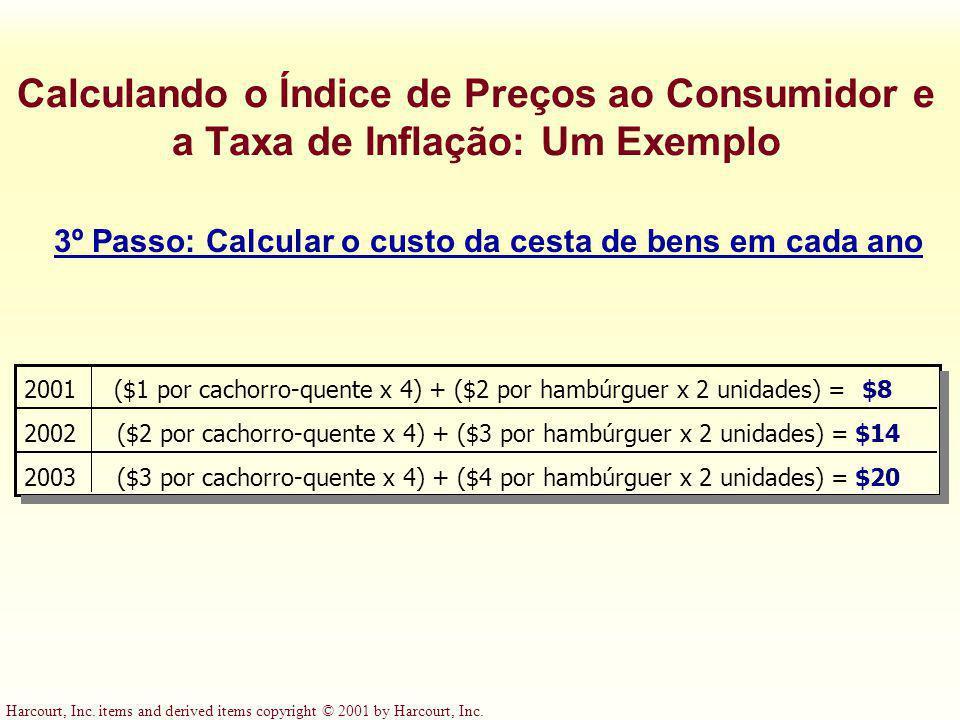 3º Passo: Calcular o custo da cesta de bens em cada ano