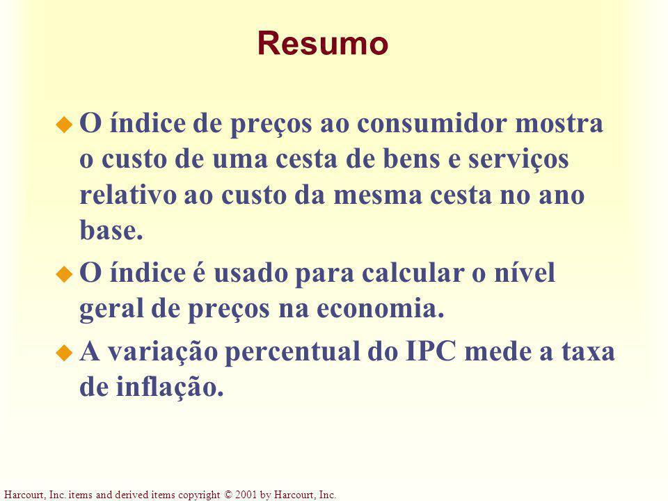 Resumo O índice de preços ao consumidor mostra o custo de uma cesta de bens e serviços relativo ao custo da mesma cesta no ano base.