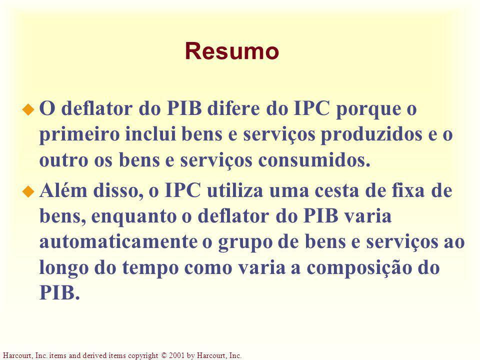Resumo O deflator do PIB difere do IPC porque o primeiro inclui bens e serviços produzidos e o outro os bens e serviços consumidos.