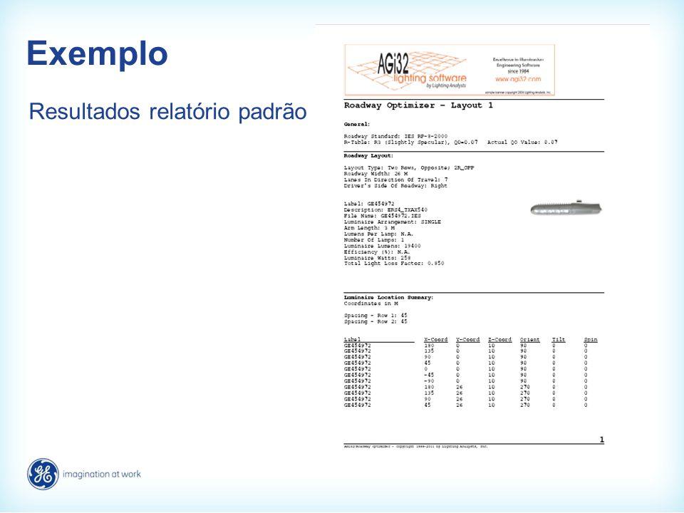 Exemplo Resultados relatório padrão