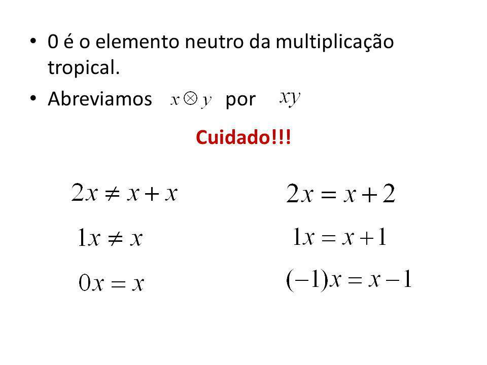 0 é o elemento neutro da multiplicação tropical.