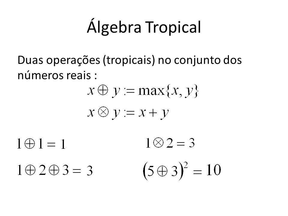 Álgebra Tropical Duas operações (tropicais) no conjunto dos números reais :