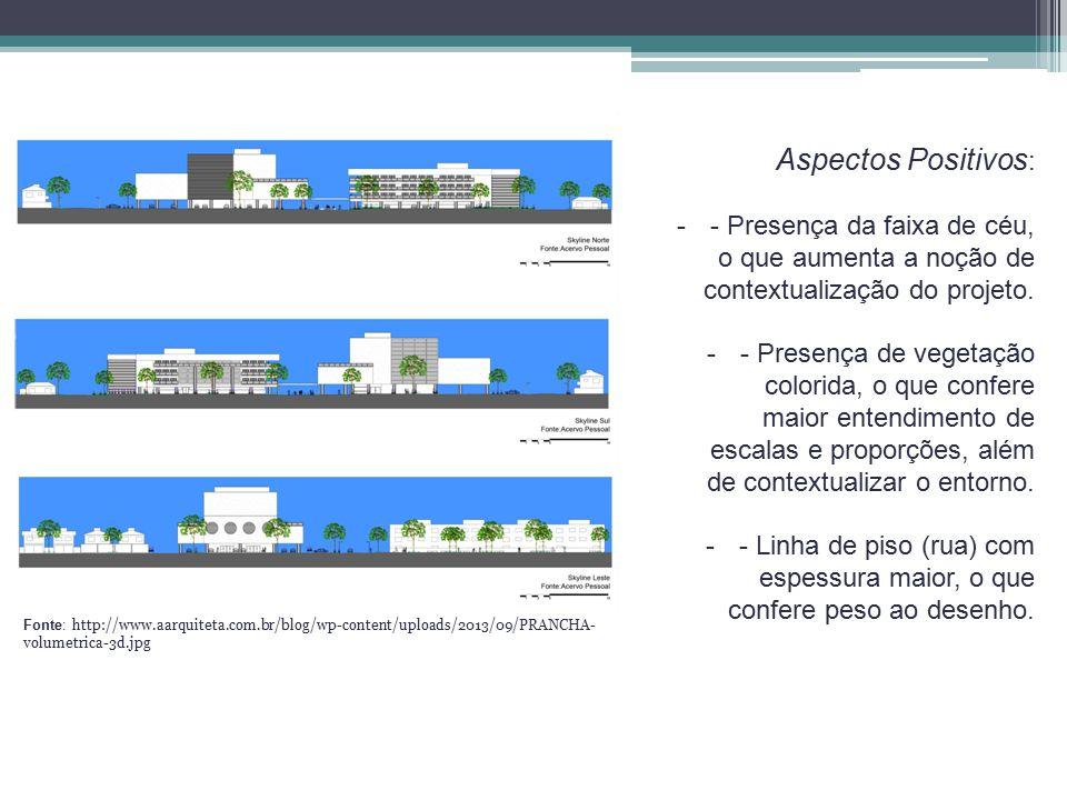 Aspectos Positivos: - Presença da faixa de céu, o que aumenta a noção de contextualização do projeto.