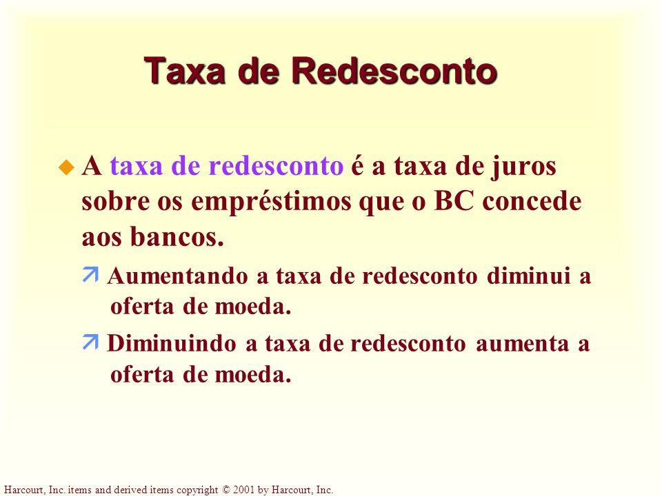 Taxa de Redesconto A taxa de redesconto é a taxa de juros sobre os empréstimos que o BC concede aos bancos.