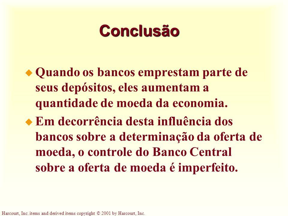 Conclusão Quando os bancos emprestam parte de seus depósitos, eles aumentam a quantidade de moeda da economia.
