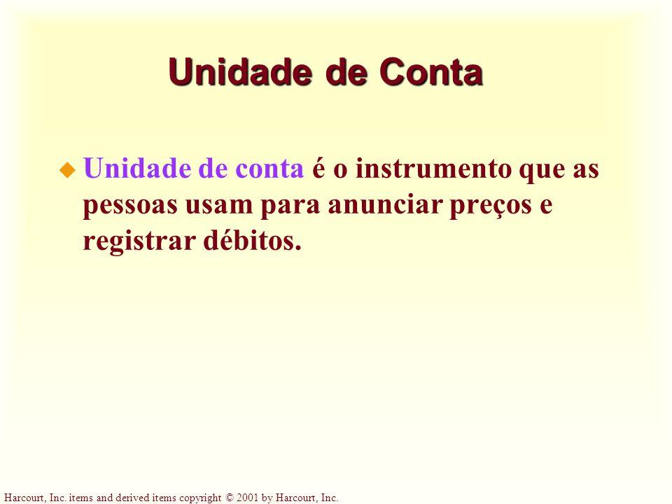 Unidade de Conta Unidade de conta é o instrumento que as pessoas usam para anunciar preços e registrar débitos.