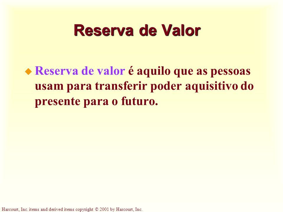 Reserva de Valor Reserva de valor é aquilo que as pessoas usam para transferir poder aquisitivo do presente para o futuro.