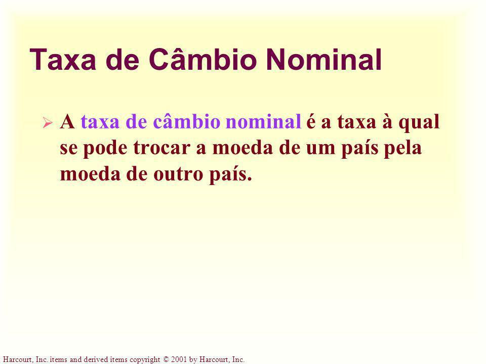 Taxa de Câmbio Nominal A taxa de câmbio nominal é a taxa à qual se pode trocar a moeda de um país pela moeda de outro país.