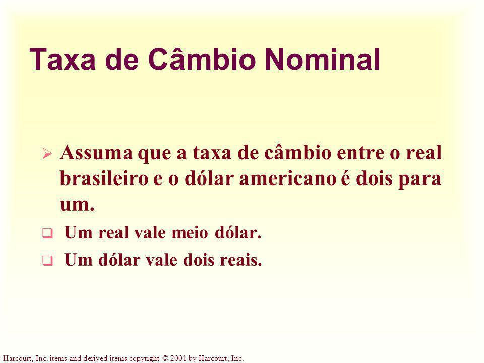Taxa de Câmbio Nominal Assuma que a taxa de câmbio entre o real brasileiro e o dólar americano é dois para um.