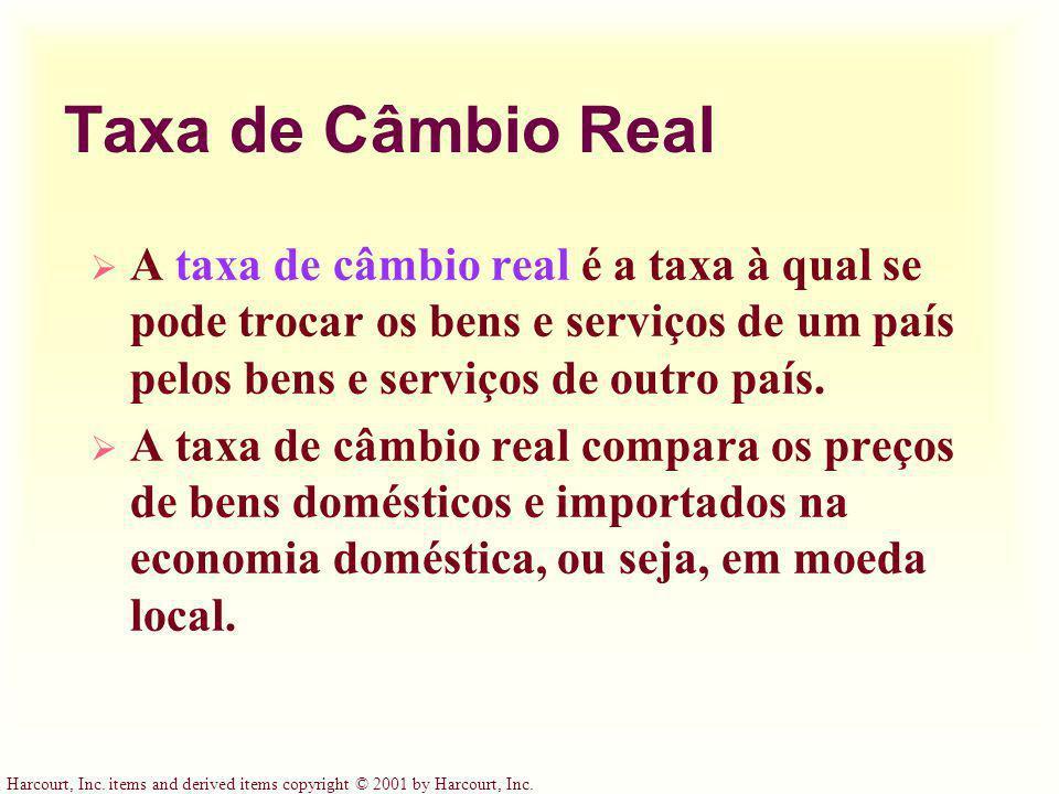Taxa de Câmbio Real A taxa de câmbio real é a taxa à qual se pode trocar os bens e serviços de um país pelos bens e serviços de outro país.