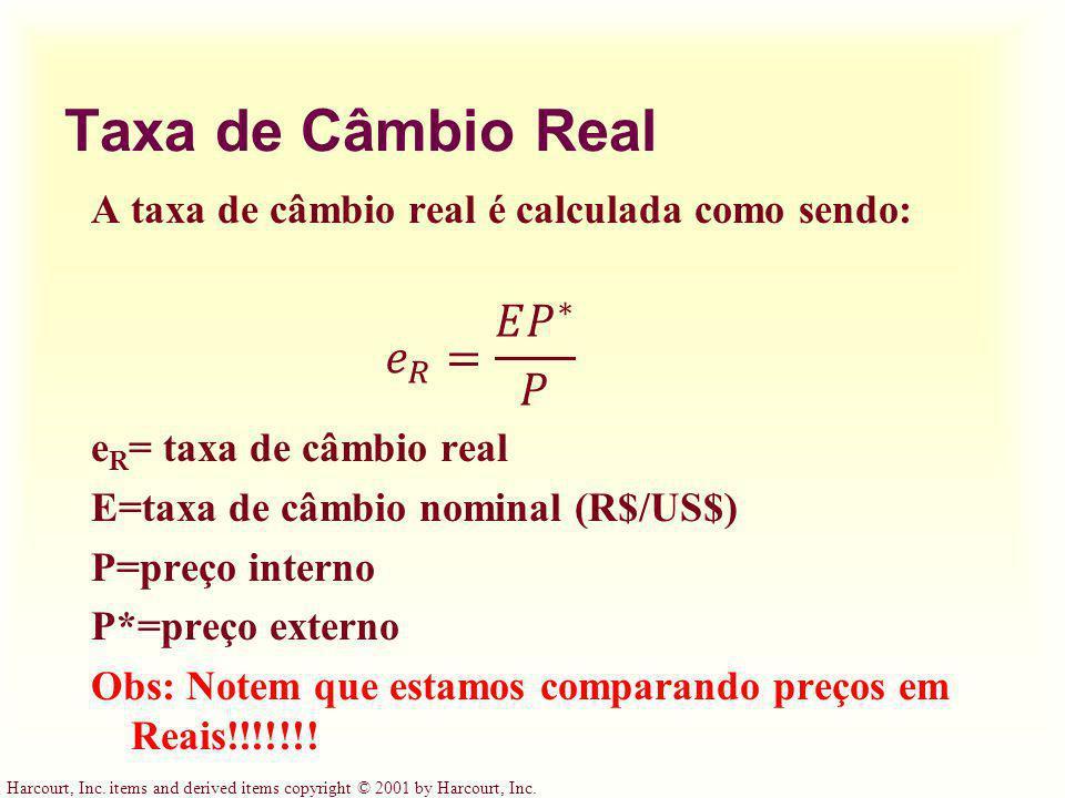 Taxa de Câmbio Real 𝑒 𝑅 = 𝐸 𝑃 ∗ 𝑃
