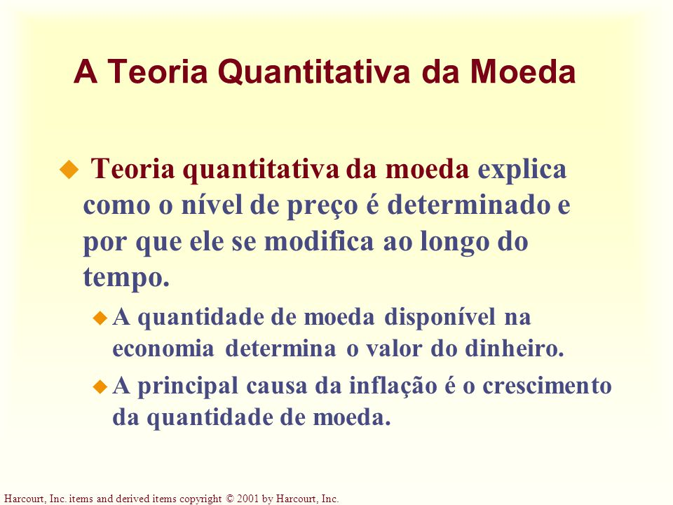 A Teoria Quantitativa da Moeda