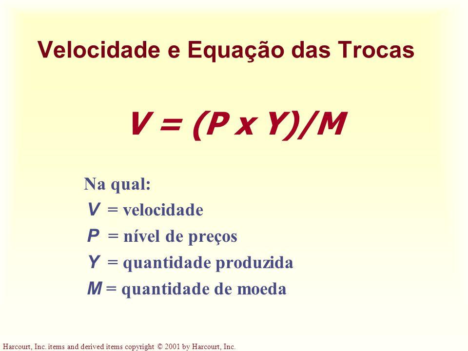 Velocidade e Equação das Trocas