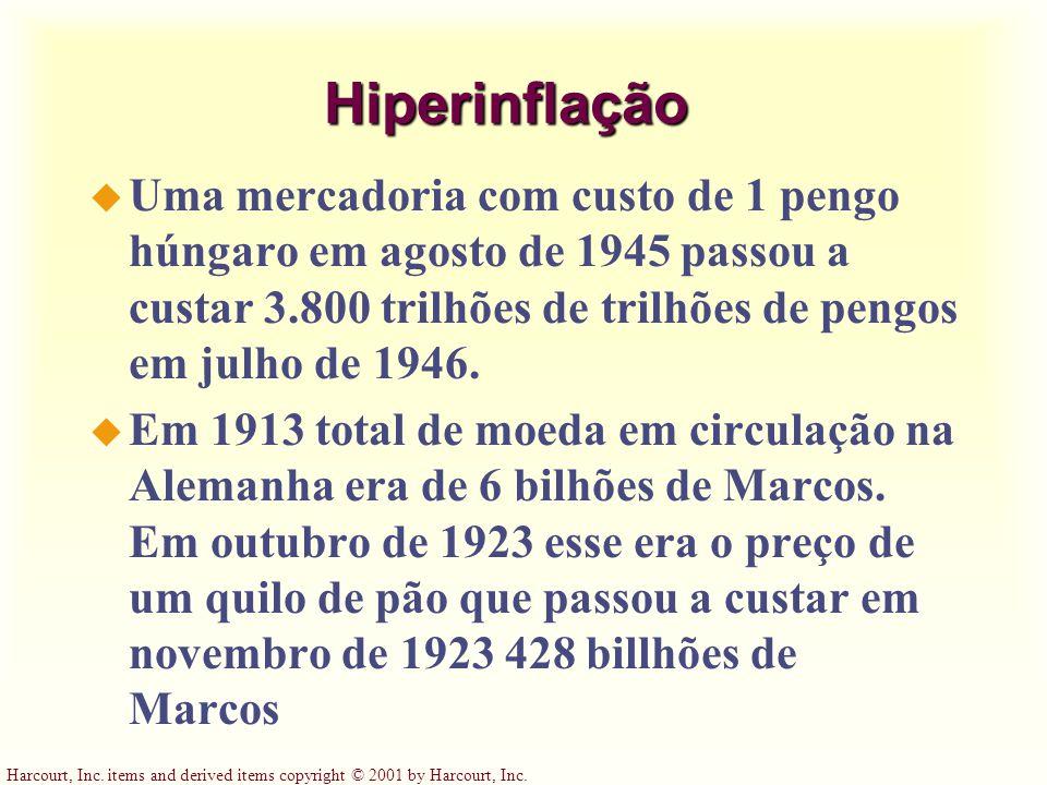 Hiperinflação Uma mercadoria com custo de 1 pengo húngaro em agosto de 1945 passou a custar 3.800 trilhões de trilhões de pengos em julho de 1946.