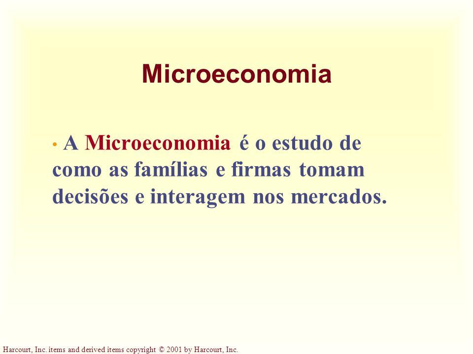 Microeconomia A Microeconomia é o estudo de como as famílias e firmas tomam decisões e interagem nos mercados.