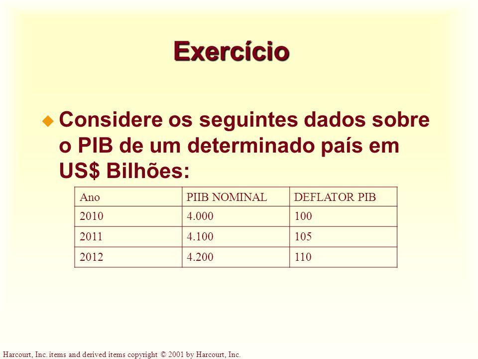 Exercício Considere os seguintes dados sobre o PIB de um determinado país em US$ Bilhões: Ano. PIIB NOMINAL.
