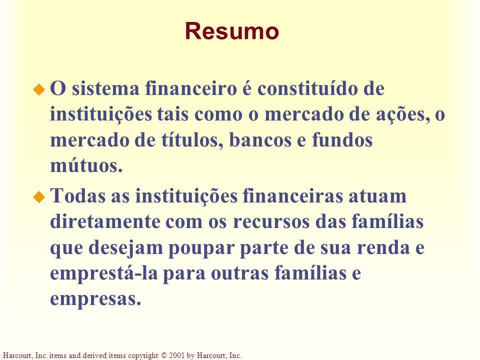Resumo O sistema financeiro é constituído de instituições tais como o mercado de ações, o mercado de títulos, bancos e fundos mútuos.