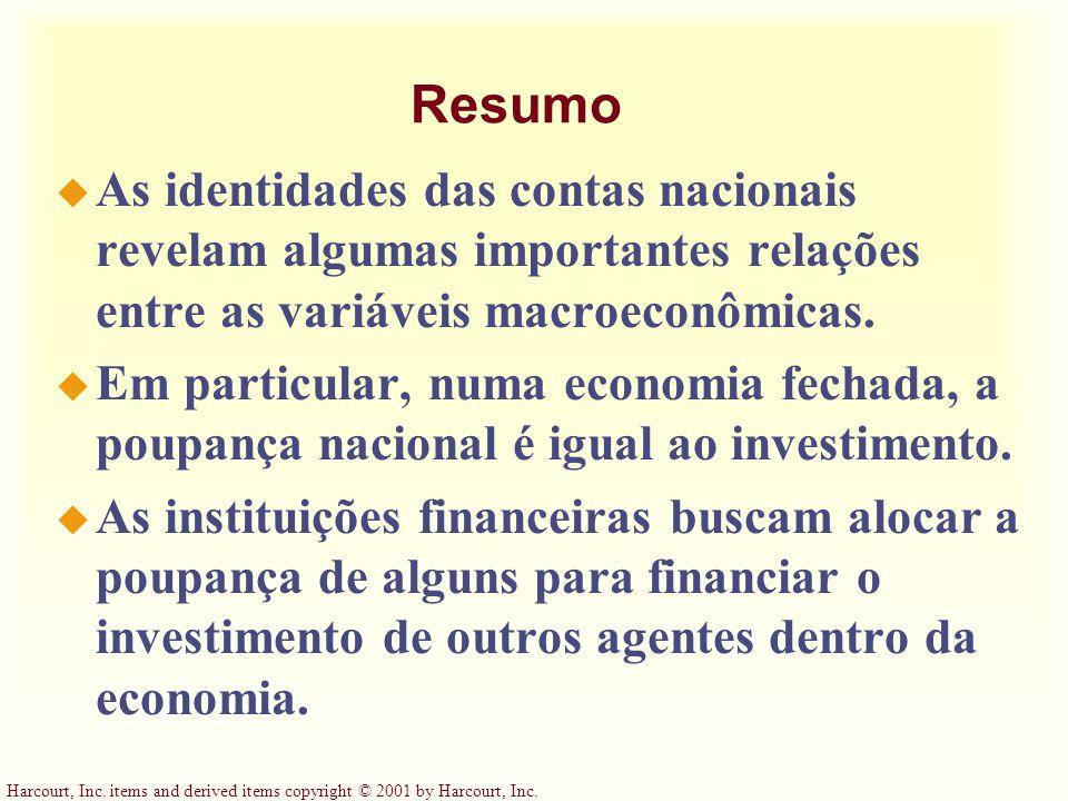 Resumo As identidades das contas nacionais revelam algumas importantes relações entre as variáveis macroeconômicas.