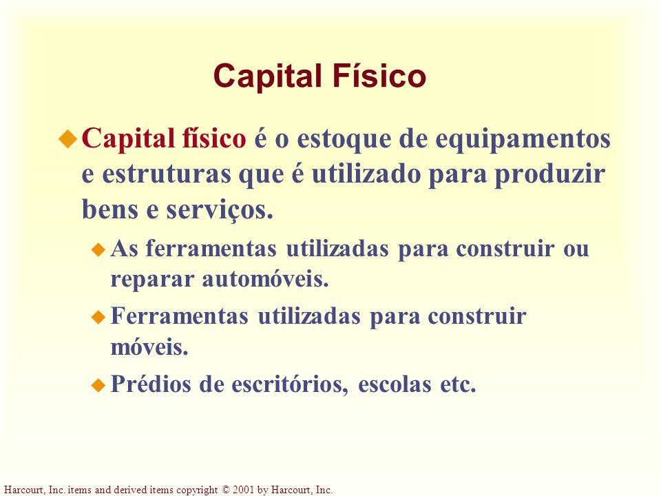 Capital Físico Capital físico é o estoque de equipamentos e estruturas que é utilizado para produzir bens e serviços.