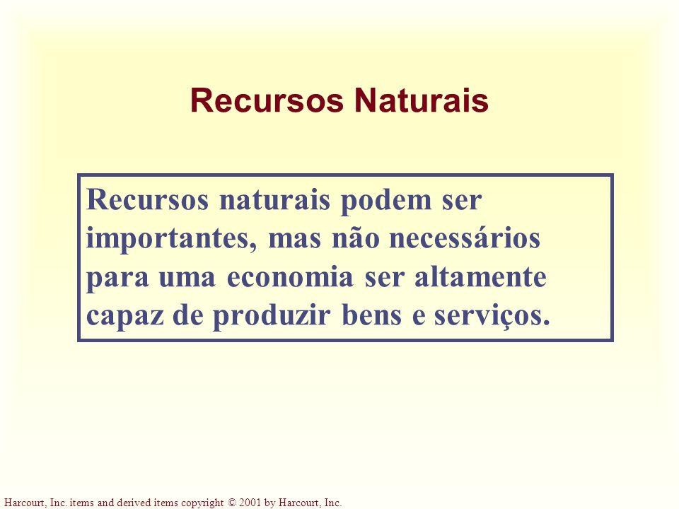 Recursos Naturais Recursos naturais podem ser importantes, mas não necessários para uma economia ser altamente capaz de produzir bens e serviços.