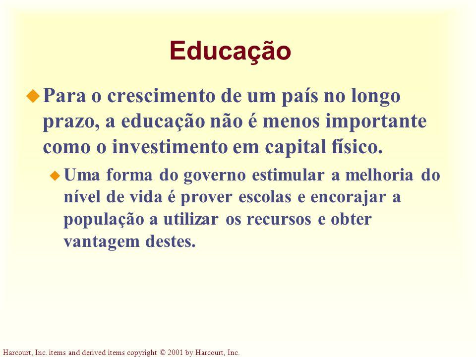 Educação Para o crescimento de um país no longo prazo, a educação não é menos importante como o investimento em capital físico.