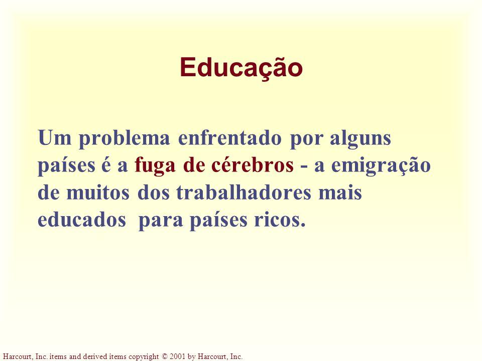 Educação Um problema enfrentado por alguns países é a fuga de cérebros - a emigração de muitos dos trabalhadores mais educados para países ricos.
