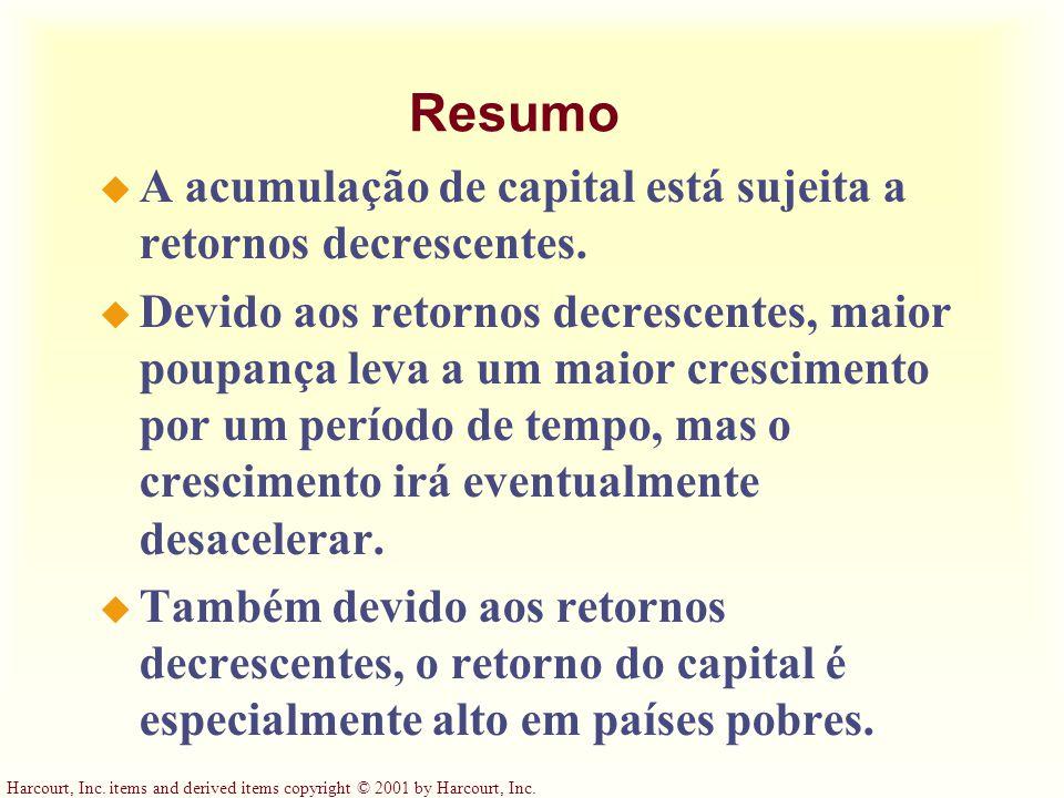Resumo A acumulação de capital está sujeita a retornos decrescentes.