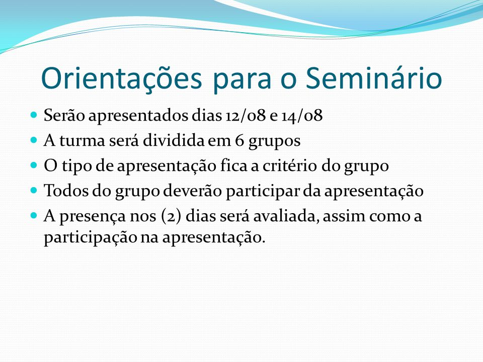 Orientações para o Seminário