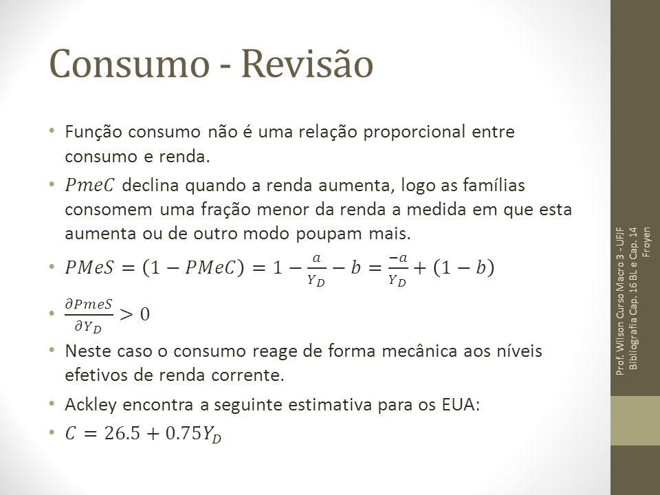 Consumo - Revisão Função consumo não é uma relação proporcional entre consumo e renda.