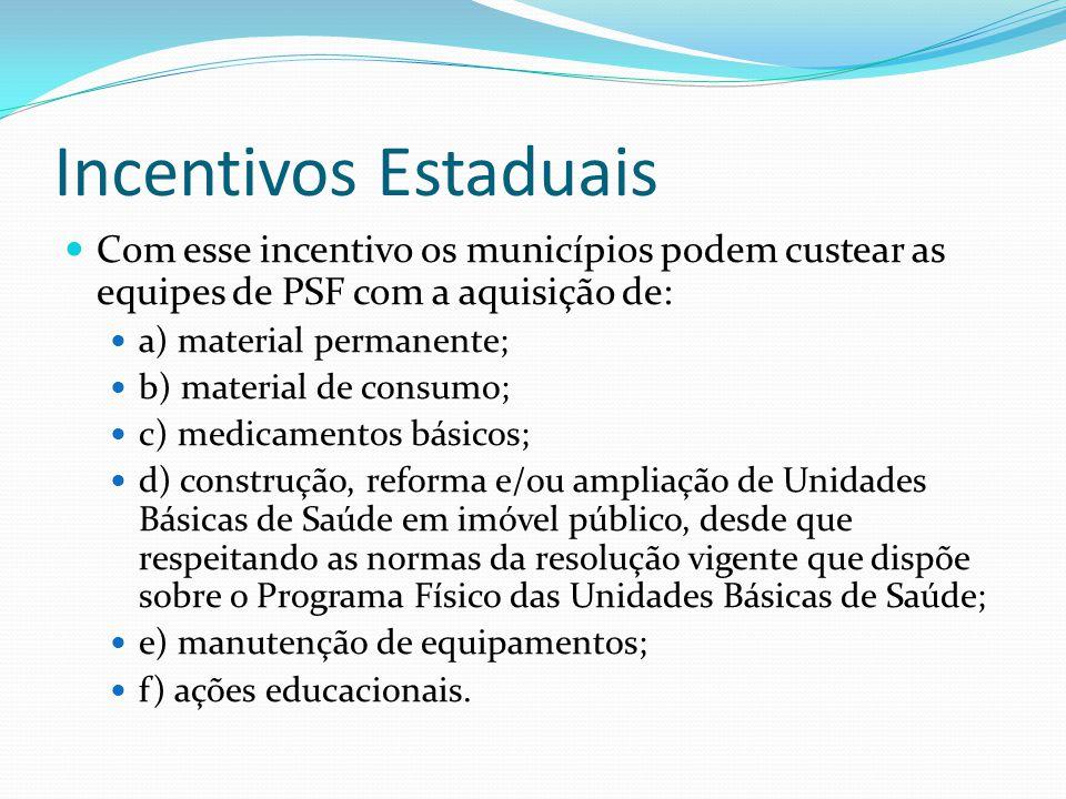 Incentivos Estaduais Com esse incentivo os municípios podem custear as equipes de PSF com a aquisição de: