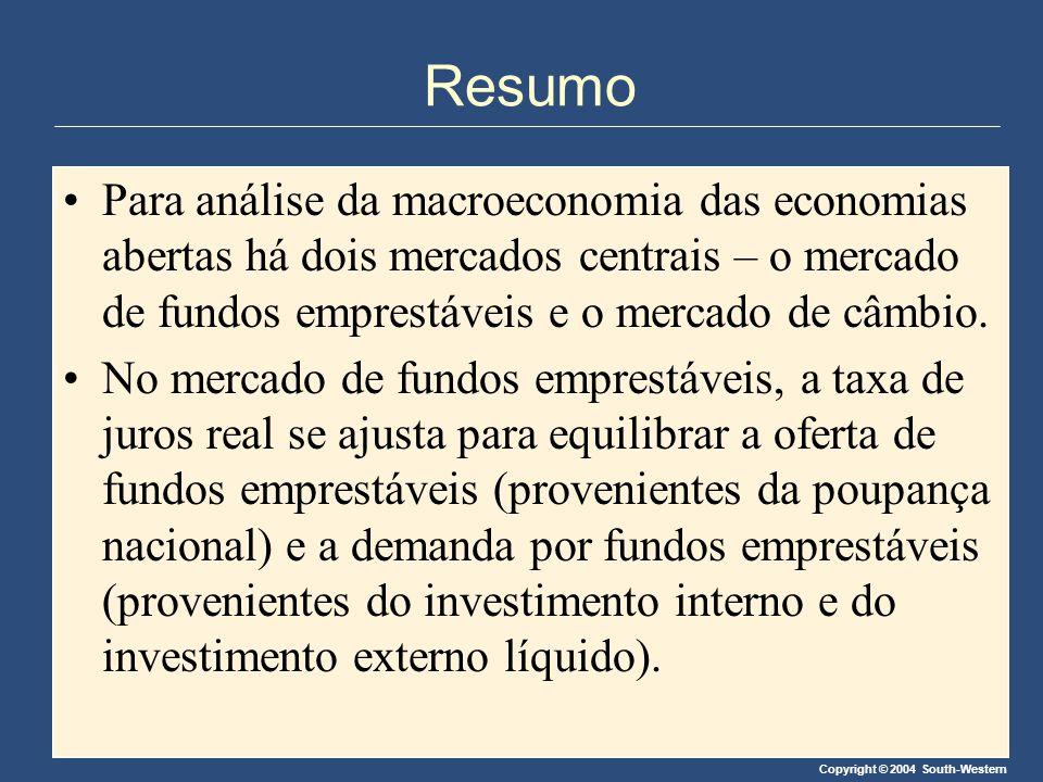 Resumo Para análise da macroeconomia das economias abertas há dois mercados centrais – o mercado de fundos emprestáveis e o mercado de câmbio.