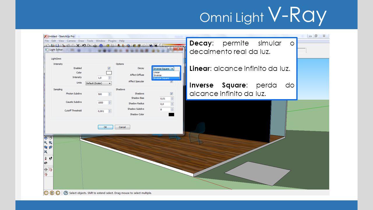 Omni Light V-Ray Decay: permite simular o decaimento real da luz.