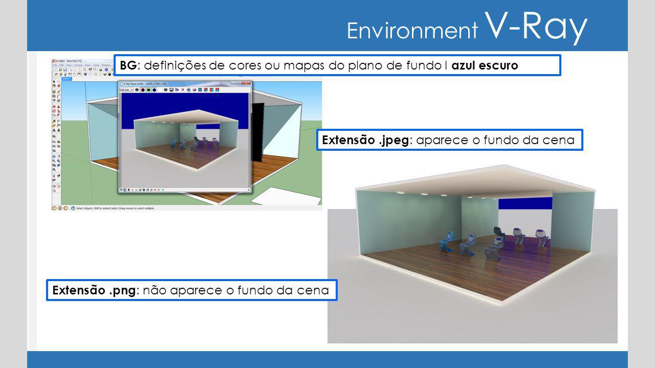 Environment V-Ray BG: definições de cores ou mapas do plano de fundo I azul escuro. Extensão .jpeg: aparece o fundo da cena.