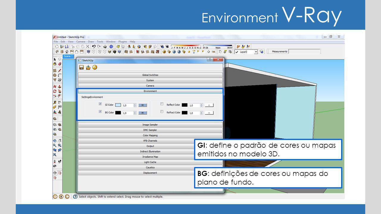 Environment V-Ray GI: define o padrão de cores ou mapas