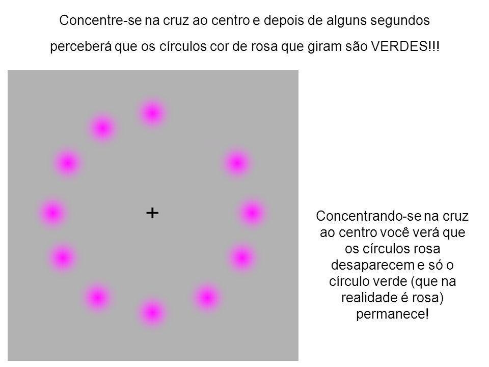 Concentre-se na cruz ao centro e depois de alguns segundos perceberá que os círculos cor de rosa que giram são VERDES!!!