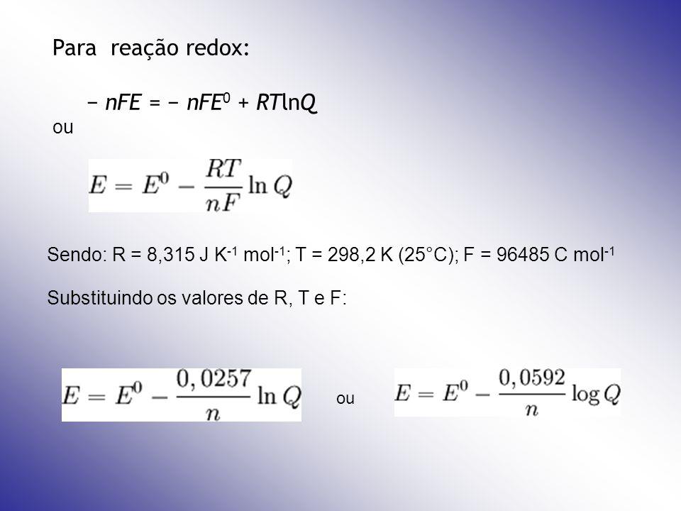 Para reação redox: − nFE = − nFE0 + RTlnQ ou