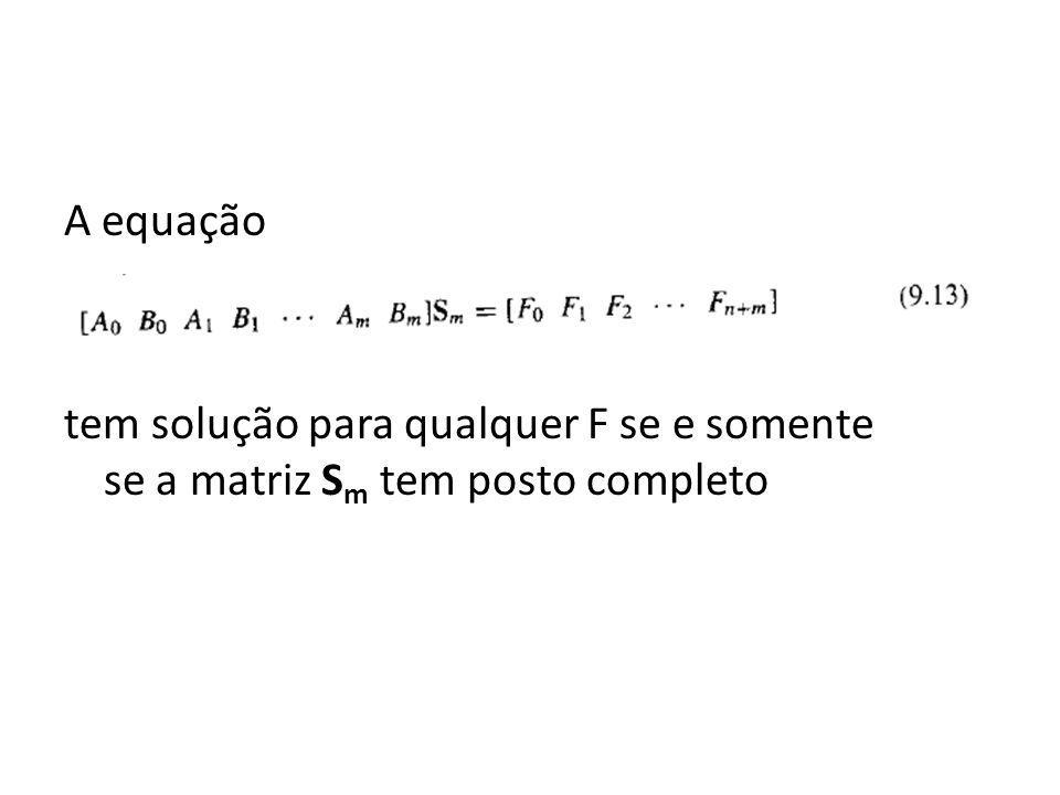 A equação tem solução para qualquer F se e somente se a matriz Sm tem posto completo