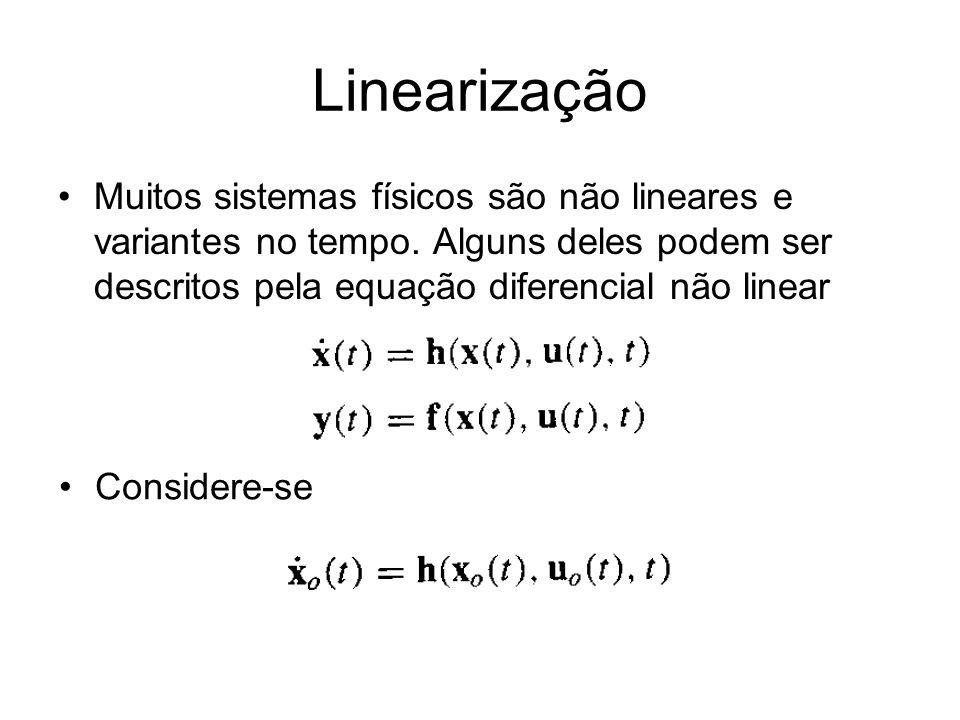 Linearização Muitos sistemas físicos são não lineares e variantes no tempo. Alguns deles podem ser descritos pela equação diferencial não linear.