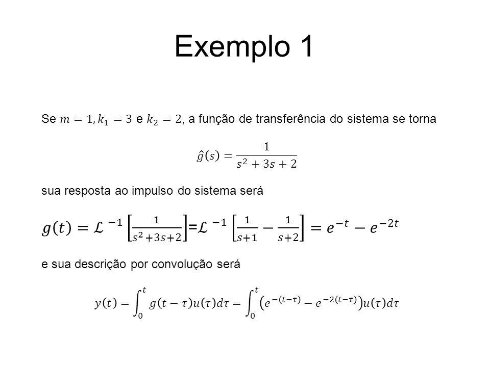 Exemplo 1 𝑔 𝑡 = ℒ −1 1 𝑠 2 +3𝑠+2 = ℒ −1 1 𝑠+1 − 1 𝑠+2 = 𝑒 −𝑡 − 𝑒 −2𝑡